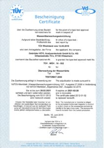 Gebrüder Heyl Wasseranalysegeraete Zertifikat Testomat 2000